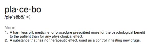 glossary placebo
