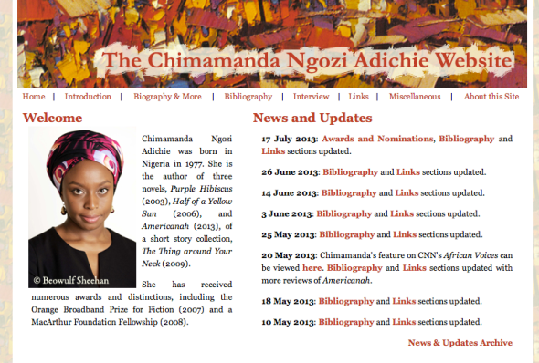chimamanda's web site