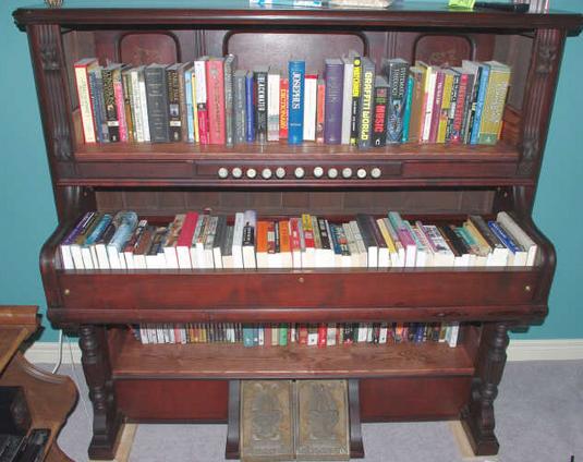 piano as book shelf