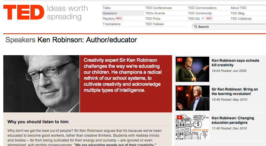 sir ken's profile on ted