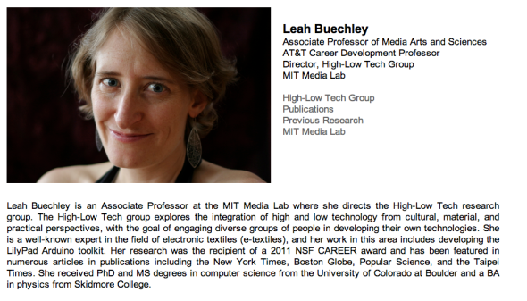 leah buechley site at mit