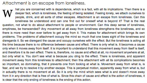 krishnamurti on loneliness