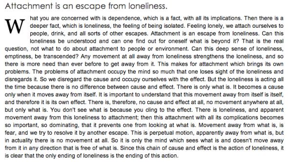 krishnamurti on loneliness