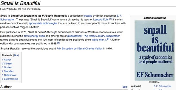 small is beautiful on wikipedia