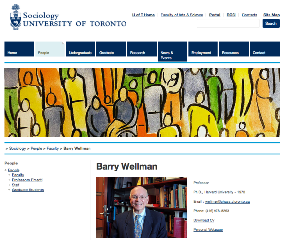 barry wellman on uni of toronto