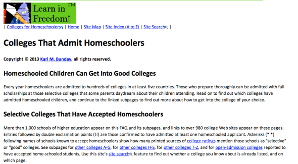 colleges that admit homeschoolers site