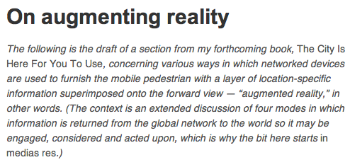 on augmenting reality