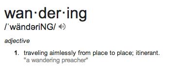 wandering defn