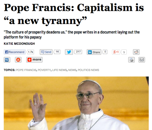 pope francis on capitalism