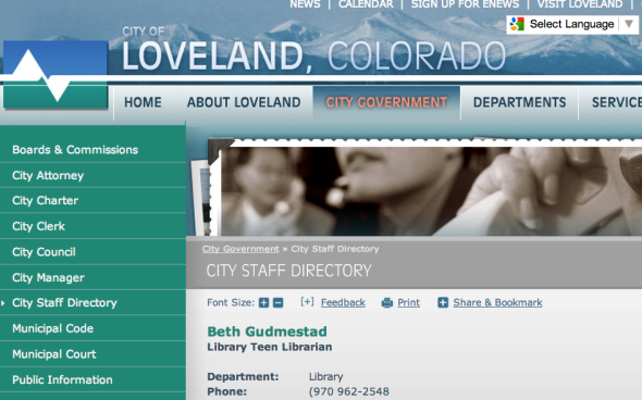 beth gudmestad on library site