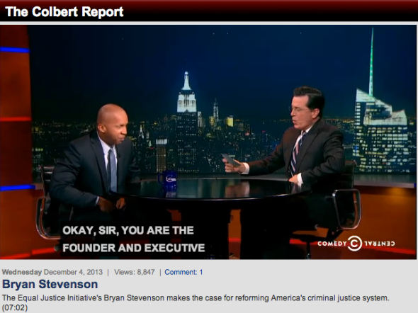 bryan stevenson on colbert report