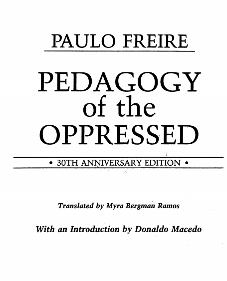 pedagogy of the oppressed pdf