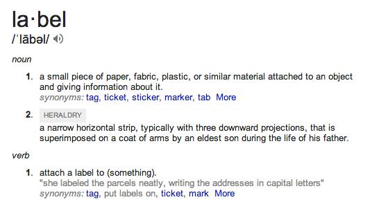 label defn