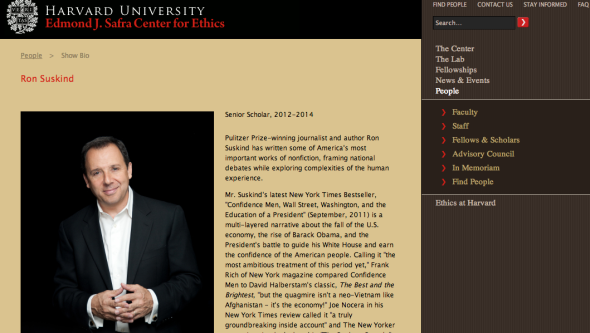 ron suskind on harvard site